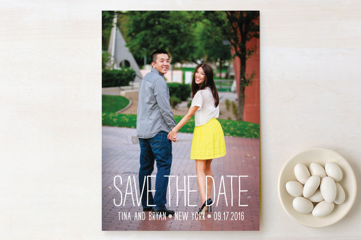"""""""Happiest Homestyle"""" - Full-Bleed Photo, Bold typographic Save The Date Cards in Snow by Max and Bunny."""