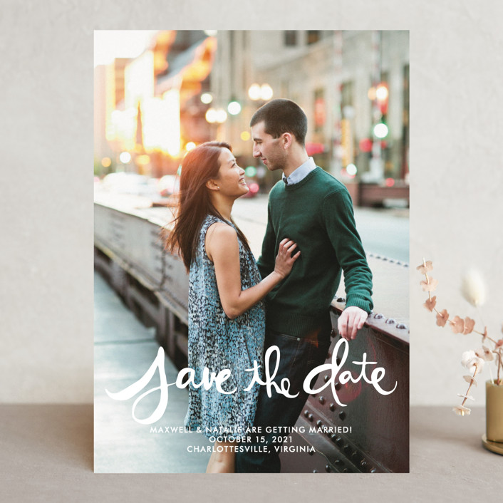 """""""Hand-Lettered"""" - Full-Bleed Photo, Bold typographic Save The Date Cards in Lily by Dean Street."""