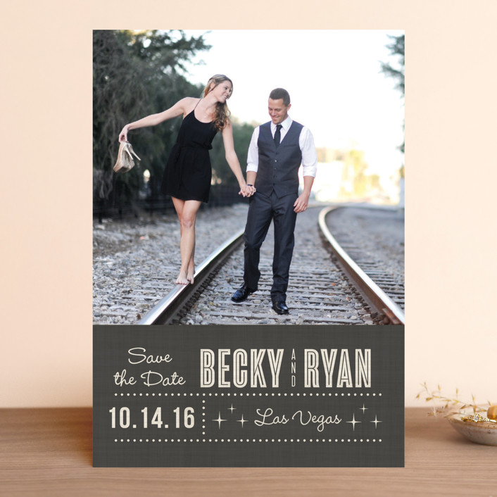 """Lucky in Love"" - Bold typographic, Modern Save The Date Cards in Charcoal by Susan Asbill."