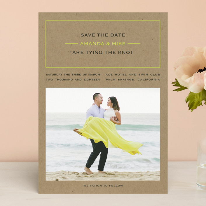 """Vintage Kraft"" - Simple Save The Date Cards in Chartreuse by Waldo Press."