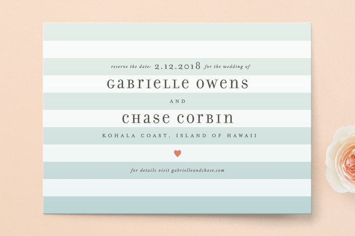 """""""Ombre Stripes"""" - Simple, Beach Save The Date Cards in Ocean by Jill Means."""