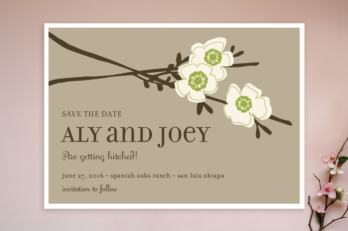 """""""Apple Blossom"""" - Floral & Botanical Save The Date Cards in Lime by annie clark."""