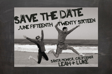 Boardwalk Stencil Save The Date Cards