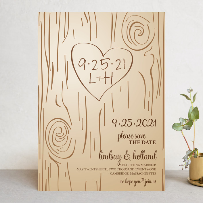 """""""Fall Carving"""" - Rustic, Whimsical & Funny Save The Date Cards in Woodgrain by Amanda Joy."""