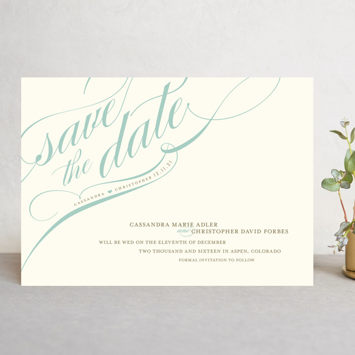 """Winter Flourish"" - Elegant, Formal Save The Date Cards in Robin'sEggBlue by annie clark."