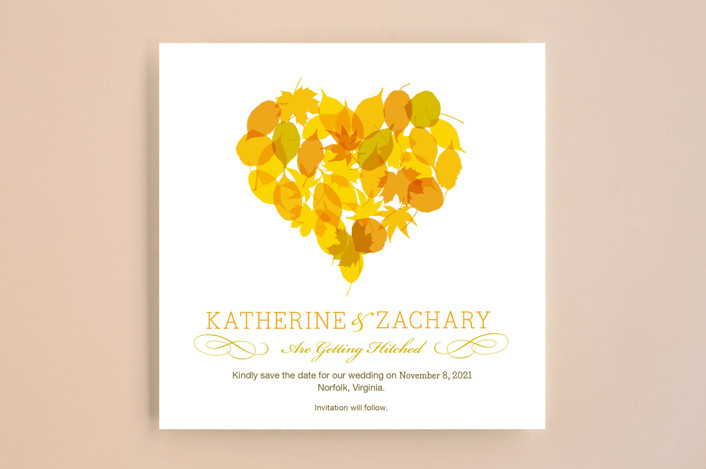 """""""Fall in Love"""" - Rustic Save The Date Cards in Autumn Leaf by Le Petit Graphiste."""