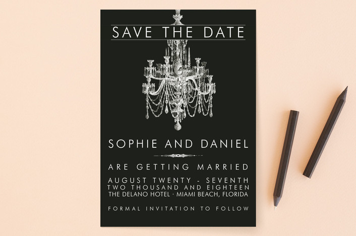 """Chandelier"" - Vintage, Formal Save The Date Cards in Obsidian by Splendid Press."