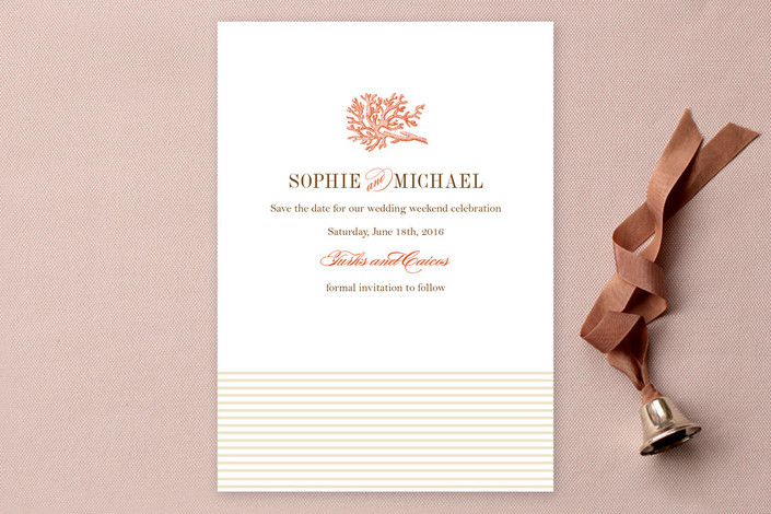 """""""Coral"""" - Destination Save The Date Cards in Tangelo by Oscar & Emma."""