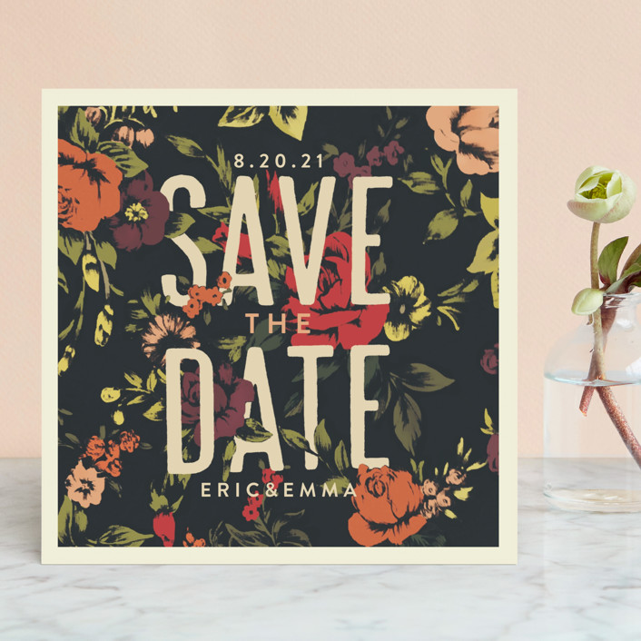 """Vintage Blooms"" - Floral & Botanical, Rustic Save The Date Cards in Rose Red by Miranda Lyn."