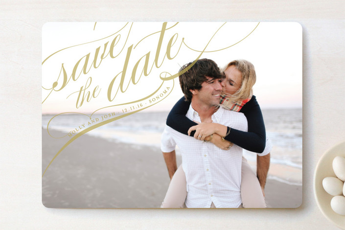 """Flourish"" - Full-Bleed Photo, Elegant Save The Date Cards in Gold by annie clark."