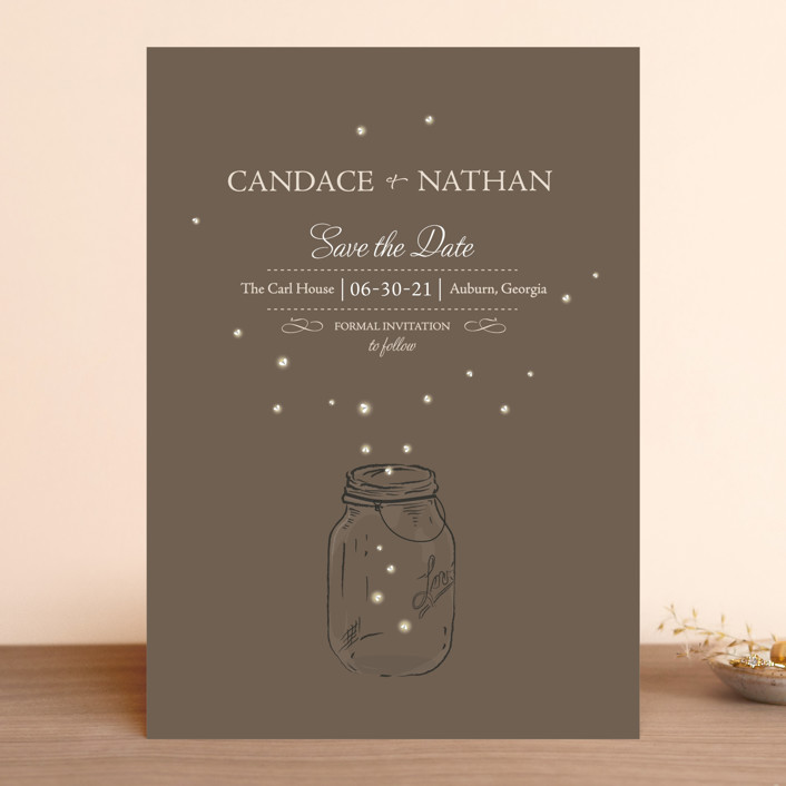 """Fireflies"" - Rustic, Whimsical & Funny Save The Date Cards in Earth by cadence paige design."