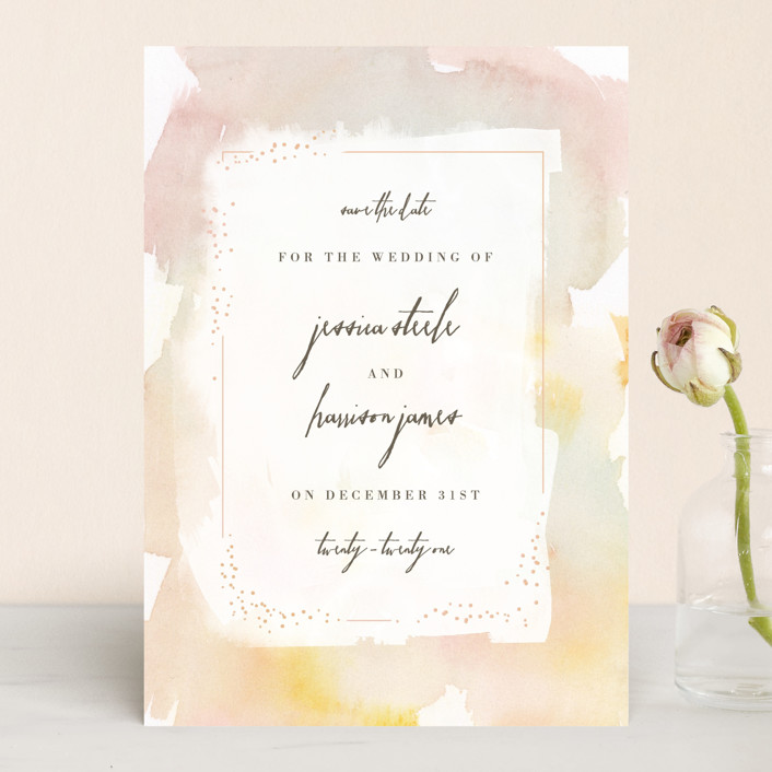 """Pretty"" - Modern Save The Date Cards in Peony by Lori Wemple."