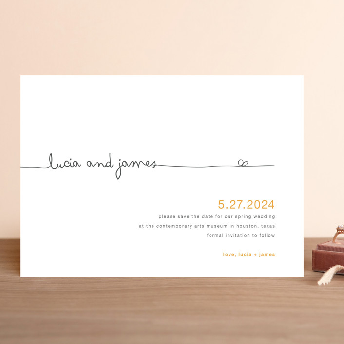 """""""The Happy Couple"""" - Modern, Whimsical & Funny Save The Date Cards in Tangerine by R studio."""