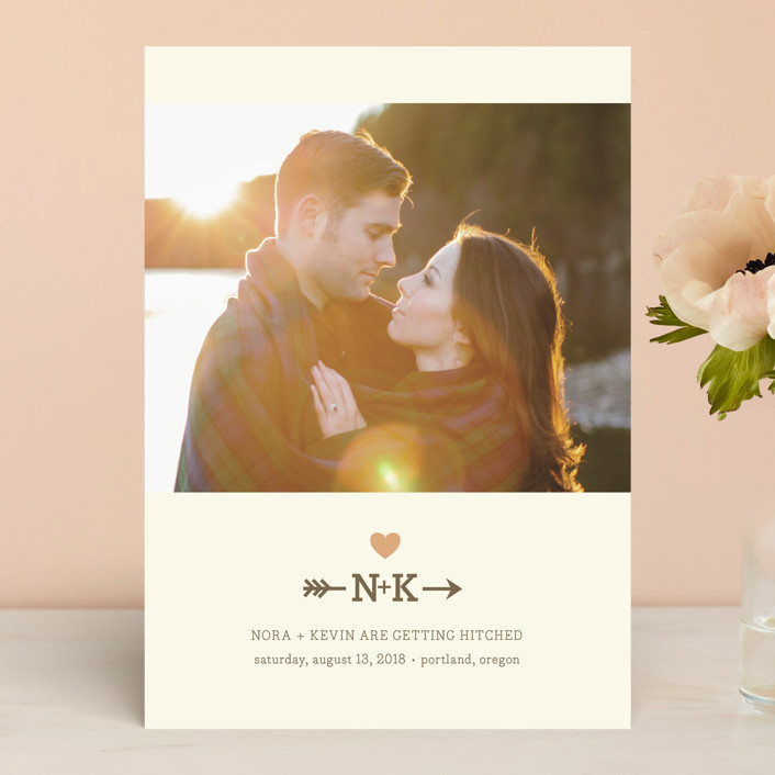 """Love Struck"" - Monogrammed, Rustic Save The Date Cards in Peach by The Social Type."