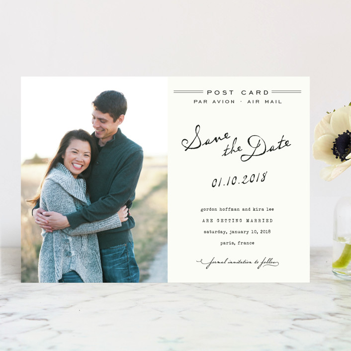 """Airmail"" - Whimsical & Funny, Vintage Save The Date Cards in Ivory by annie clark."