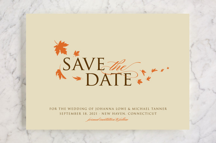 """""""Fall Breeze"""" - Rustic, Floral & Botanical Save The Date Cards in Cream by Paperview Designs."""