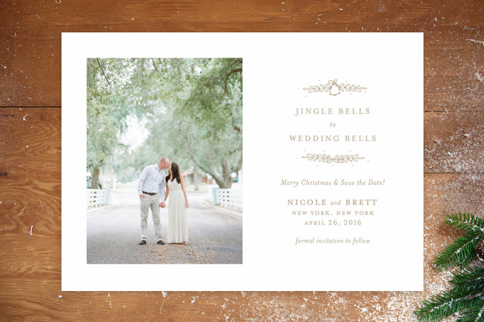 """""""Wedding Bells to Jingle Bells"""" - Classical, Elegant Save The Date Cards in Taupe by toast & laurel."""