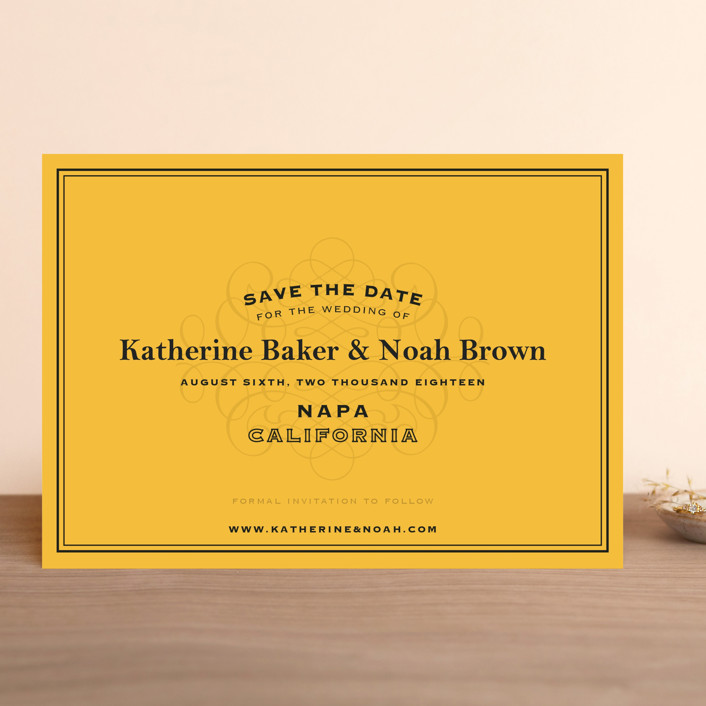 """""""Label"""" - Winery, Destination Save The Date Cards in Goldenrod by Lauren Chism."""