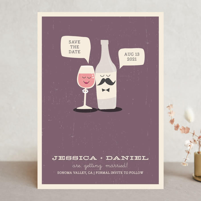 """Little Wine Charmers"" - Whimsical & Funny, Winery Save The Date Cards in Plum by Coco and Ellie Design."