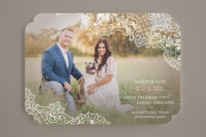 """""""White Lace"""" - Vintage, Full-Bleed Photo Save The Date Cards in Blush by Lauren Chism."""