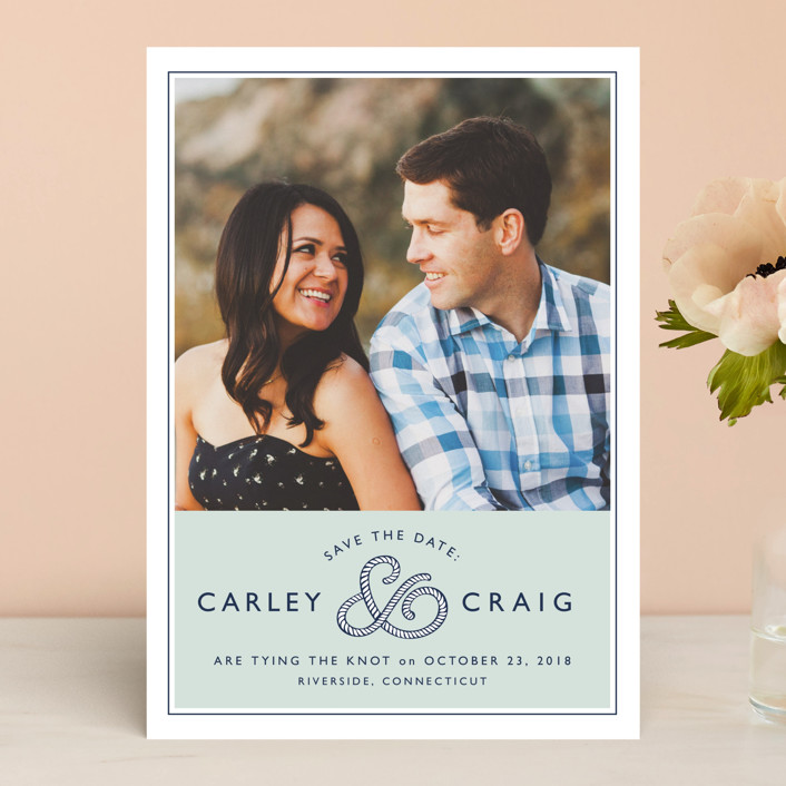 """""""Rope Ampersand"""" - Beach, Simple Save The Date Cards in Seafoam by Jill Means."""