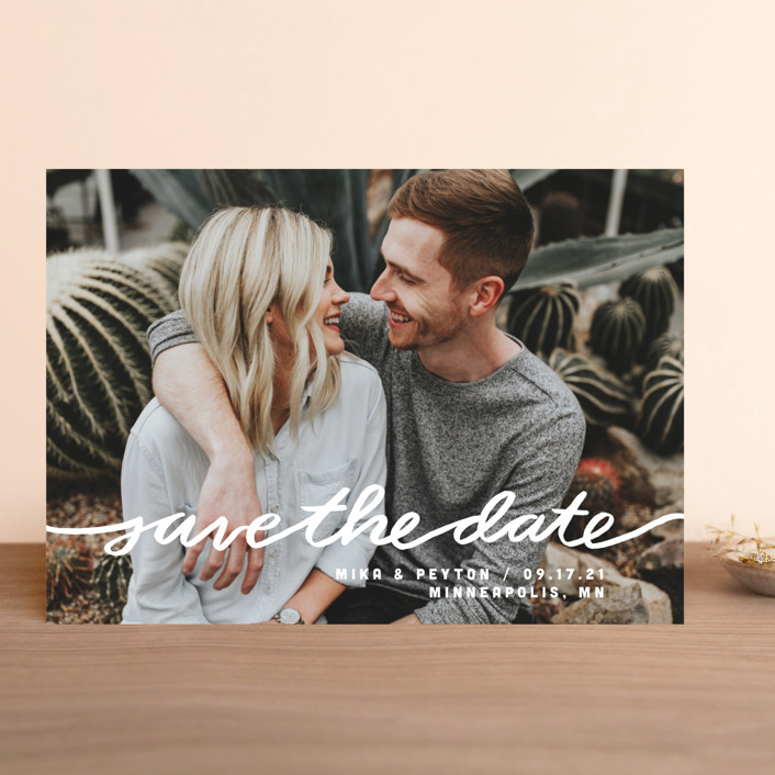 """Stringed"" - Full-Bleed Photo, Modern Save The Date Cards in Lily by Moglea."