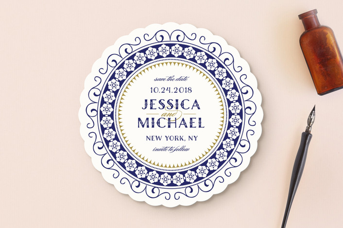 """""""Registry"""" - Elegant Save The Date Cards in Ivory by Rebecca Bowen."""