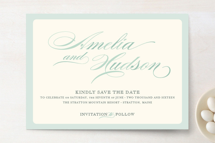 """Float + Spring Shades"" - Formal Save The Date Cards in Ice Blue by Float Paperie."