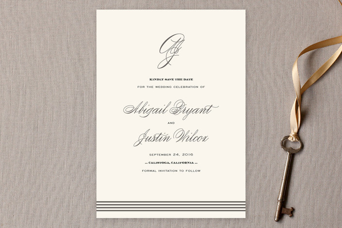 """""""Script Monogram"""" - Monogrammed, Formal Save The Date Cards in Charcoal by annie clark."""