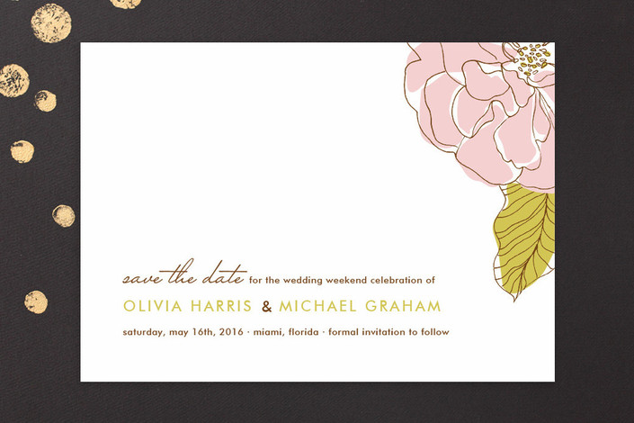 """Simple Sophisticate"" - Floral & Botanical Save The Date Cards in Cotton Candy by Oscar & Emma."