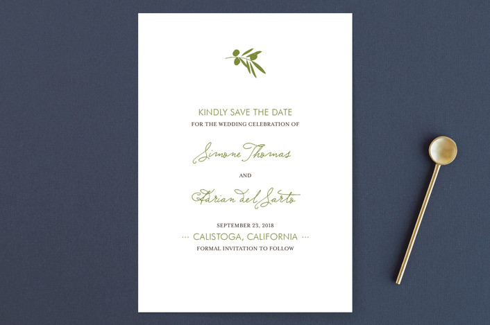 """""""Simple Olive"""" - Modern, Floral & Botanical Save The Date Cards in Garden Green by annie clark."""