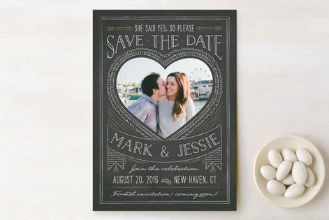 Chalkboard Heart Save The Date Cards