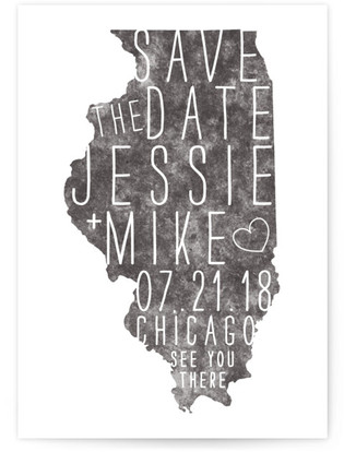 State Stamp- Illinois Save the Date Cards