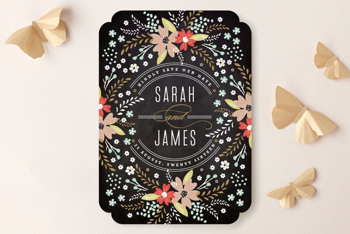 """""""Chalkboard Floral"""" - Floral & Botanical, Rustic Save The Date Cards in Peony by Kristie Kern."""