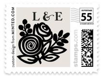 Modern Floral Frame Wedding Stamps