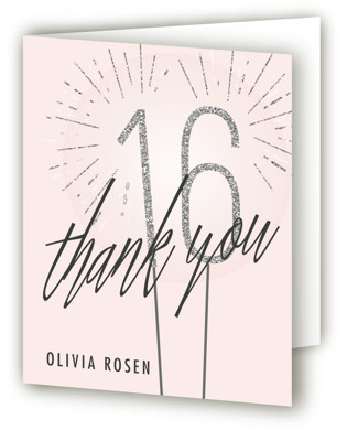 Sixteen Sparklers Sweet Sixteen Party Thank You Cards