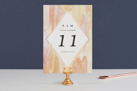 Sunset Watercolor Foil-Pressed Wedding Table Numbers