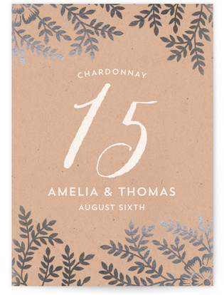 Leaves and Kraft Foil-pressed Table Numbers