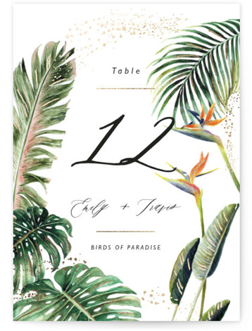 Our Paradise Foil-Pressed Table Numbers
