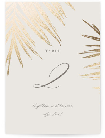 Gilded Palm Foil-Pressed Table Numbers