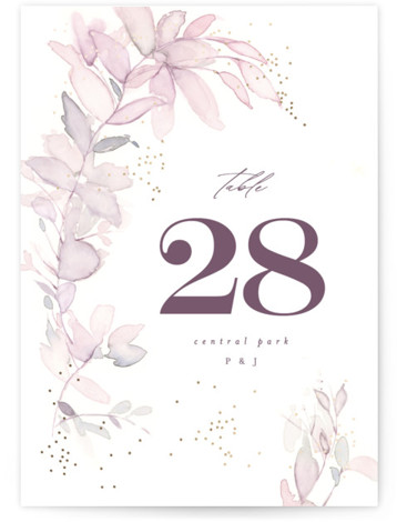 side romance Foil-Pressed Table Numbers