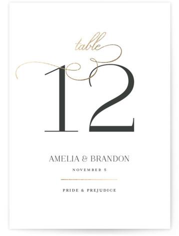 Elegant Flourish Foil-Pressed Table Numbers