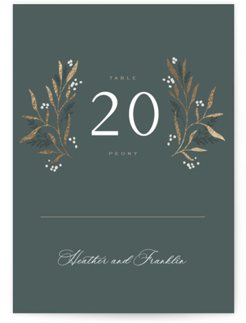Gilded Foil-Pressed Table Numbers