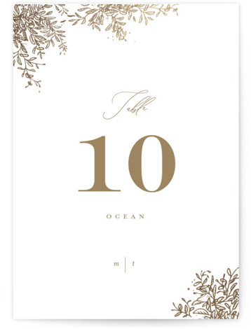 Reflection Foil-Pressed Table Numbers