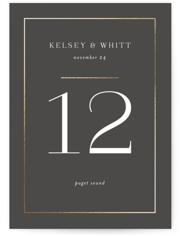 Over Monogram Foil-Pressed Table Numbers