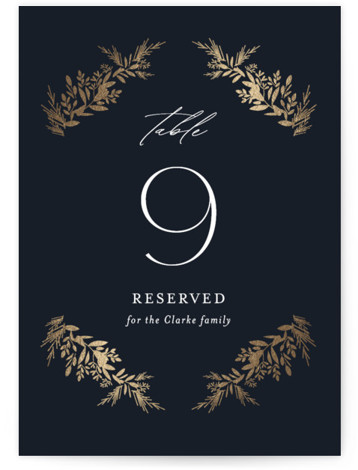 etched wreath Foil-Pressed Table Numbers