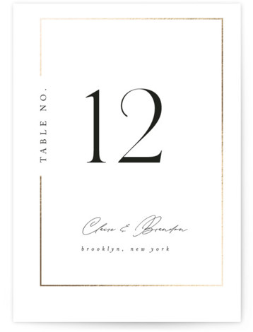 Gilded Border Foil-Pressed Table Numbers