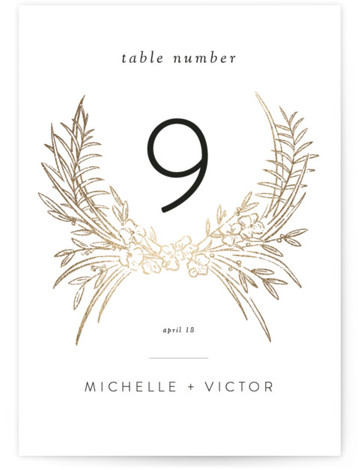 Delicate Woodland Foil-Pressed Table Numbers