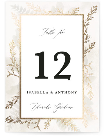 Roses & Greenery Foil-Pressed Table Numbers