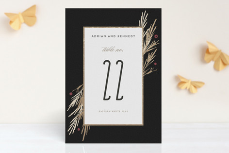 Winter Berry Foil-Pressed Wedding Table Numbers